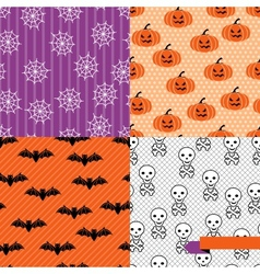 Seamless backgrounds of Halloween-related objects vector image