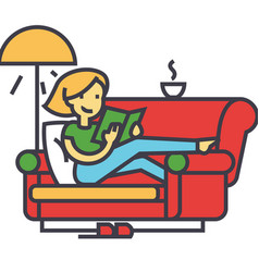 woman sitting on home sofa reading book with tea vector image