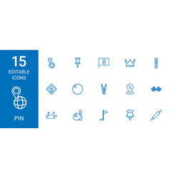 15 pin icons vector image