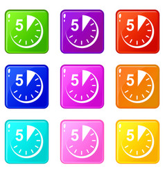 5 minutes icons set 9 color collection vector