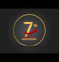 7 anniversary design golden color with ring vector