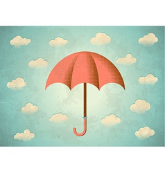 Aged card with umbrella vector