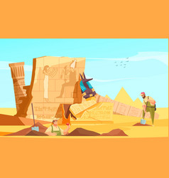Archaeologists egyptian burial grounds vector