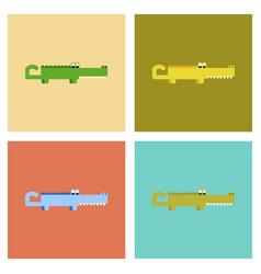 assembly flat icons cartoon crocodile vector image
