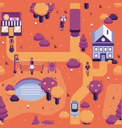 autumn city landscape people walk street vector image