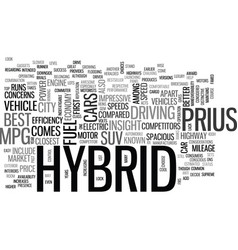 Best hybrid vehicles text word cloud concept vector