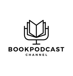 Book podcast logo icon for book blog video vlog vector