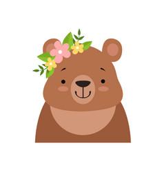 Brown bear wearing a wreath flowers cute vector