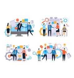 Business relationships investors handshake vector