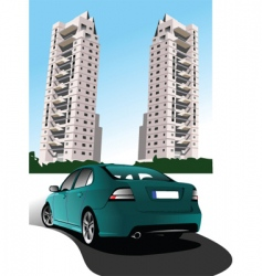 Car and buildings vector