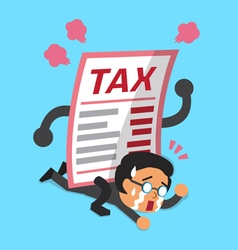 Cartoon a businessman with big tax letter vector image