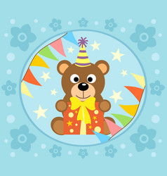 Cartoon background with funny bear vector