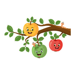 Cartoon funny apples with worms on a branch vector
