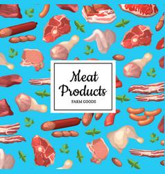 cartoon meat elements background vector image vector image