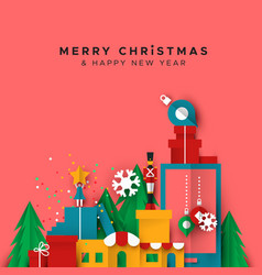 Christmas and new year card papercut toy city vector