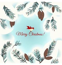 Christmas card with bird snow and fir vector