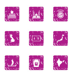 Civil structure icons set grunge style vector