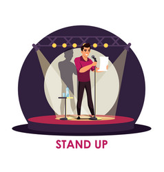 comic artist performing standup on stage vector image