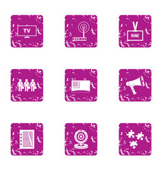 Company staff icons set grunge style vector
