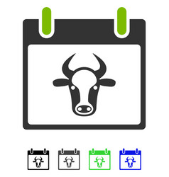 Cow calendar page flat icon vector