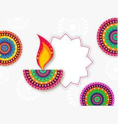 creative colorful lit oil lamp diya with mandala vector image