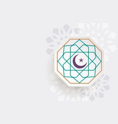Crescent moon and star islamic background vector