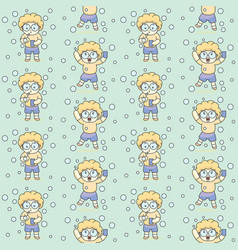 cute bubble boy with glasses seamless pattern vector image