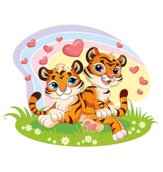 cute cartoon two loving tiger cubs with hearts vector image