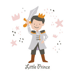 cute little prince with sword vector image