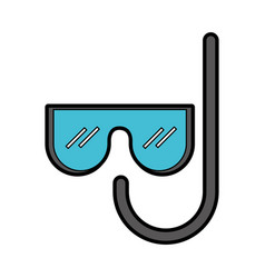 cute mask and snorkel cartoon vector image