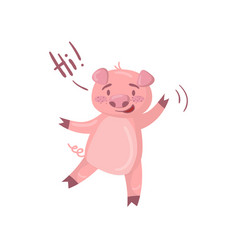 cute pig character saying hi funny cartoon piggy vector image