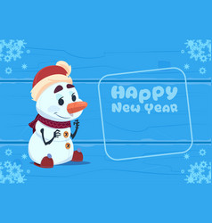 cute snowman on happy new year greeting card vector image