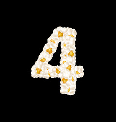 Digit 4 made up airy popcorn vector