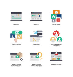 digital marketing icons set 3 vector image