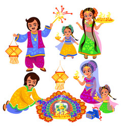 diwali indian holiday clebration with families vector image