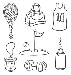 Doodle of sport equipment style hand draw vector