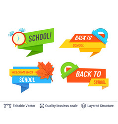 education colorful badges collection vector image