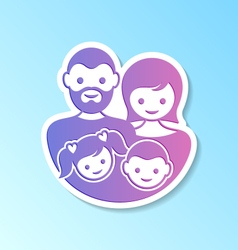 Family label with parents and children vector image