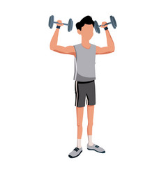 Fitness man bodybuilding exercise strong vector
