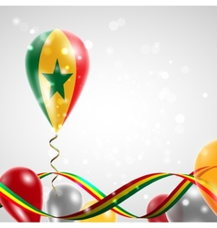 Flag of Senegal on balloon vector image