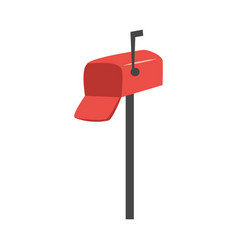 flat red street mailbox icon vector image