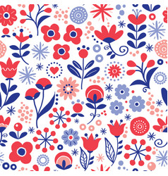 floral seamless pattern - hand drawn design vector image