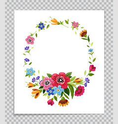 Flower frame template for greeting card vector