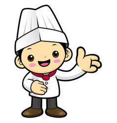 Funny chef character give guidance isolated on vector