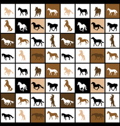 geometrical seamless pattern with horses vector image