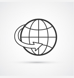 globe worldwide flat line icon eps10 vector image