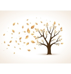 Gold Autumn Abstract Tree shaken by Wind vector