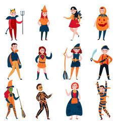 halloween mystical kids set vector image