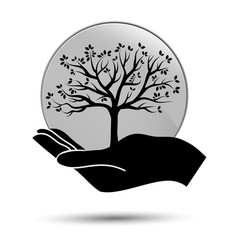 hand with tree icon you can use for nature care vector image