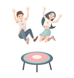 Happy children boy and girl jumping on a vector
